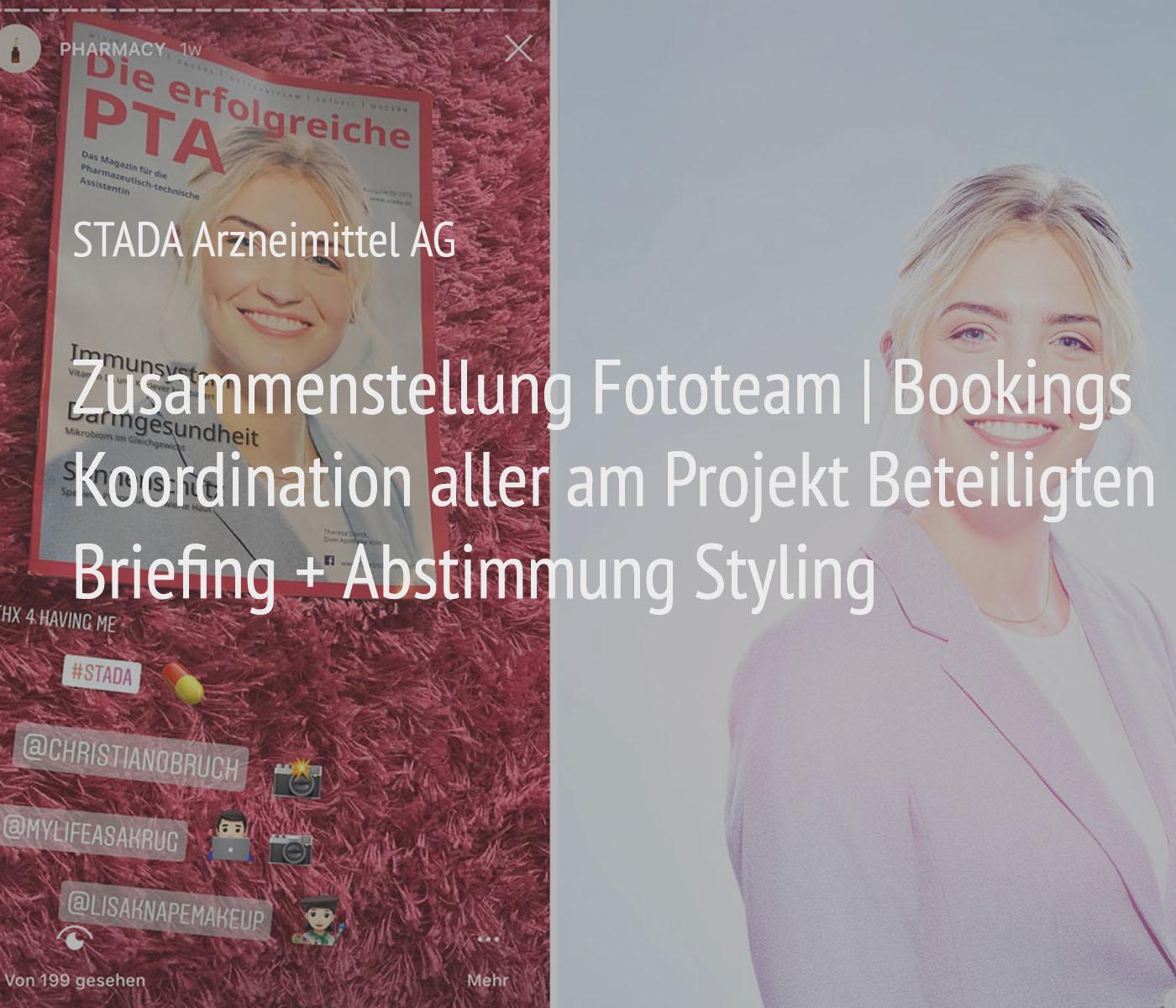 Portraitotografie + Management + Organisation für das Projekt STADA Arzneimittel AG